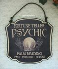 """Halloween Psychic Palm Reading Sign - Black Wooden Vintage Look - 13"""" New"""