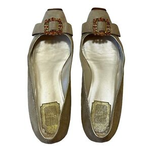 Christian Dior Gold Flats With Bejewelled Crystal Bows - Size 7 BL Eur 38