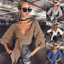 UK Womens Long Sleeve Blouse Deep V Neck Knitted Sweater Ladies Casual Crop Tops