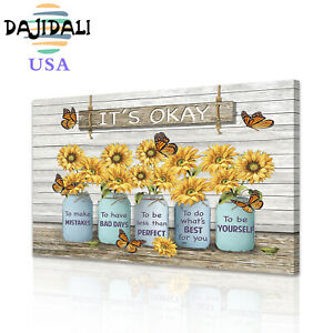 DJDL Butterfly Sunflower Canvas Wall Art Prints Picture Home Decor Painting 1pc