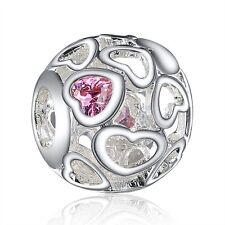 Woman Crystals Heart Silver Bead Charm Round Shape Fit Diy 925 Sterling Bracelet