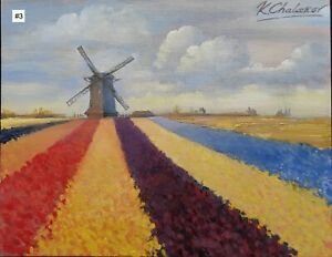 Kamen Chalakov Dutch Windmills No. 3 Original Acrylic Painting on Board 11x14