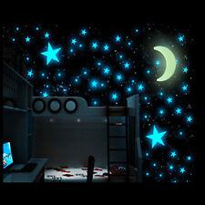 100 Glow + 1 Moon In The Dark Star Plastic Stickers kids Ceiling Walls Bedroom