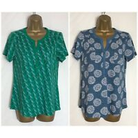 White Stuff Green Or Blue Print Cotton Jersey Top 8 - 16 (ws-65h)