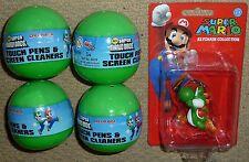 4 SUPER MARIO BROS PEN STYLUS GACHA BALL + YOSHI KEYCHAIN BRAND NEW! Nintendo DS