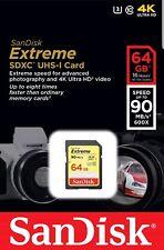 64GB SanDisk Extreme SDXC U3 V30 Memory Card  90 MB/s Class 10