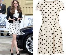 Top Shop Cream and Black Spotted Dress Size 10 as seen on Kate Middleton
