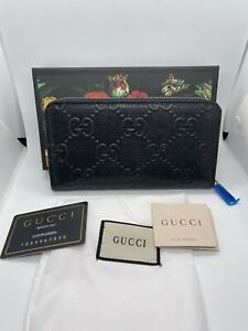 Gucci GG Embossed Zip Around Wallet Authentic New
