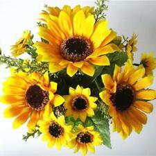 7 Heads/Bouquet Fake Sunflower Artificial Silk Flower Bunch Home Floral Decor UK