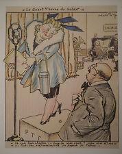 Dessin Ancien Scène de Genre Le Quart d'Heure du Soldat ABEL FAIVRE 1939