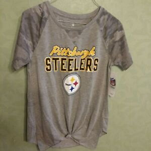 NWT Pittsburgh Steelers NFL Football Girl Teens S (3-5) Gray w/Camo Tie Front