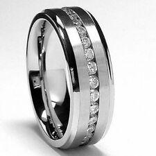 Men's 7MM Eternity Titanium Ring Wedding Band with CZ sizes 5 to 13