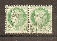 CLASSIQUE TIMBRE FRANCE FRANKREICH N°53a OBLITERE EN PAIRE LOSANGE 4772