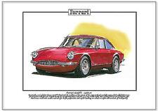 FERRARI 365 GTC 1968-70 - Fine Art Print - A4 size picture - Classic Italian Car
