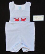 New Boys Ragsland Vive La Fete Crab Shortall 4T 4 Blue Romper Smocked Outfit