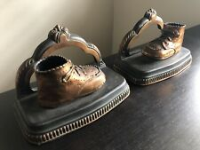 Vintage Baby's First Shoes Baby Sneakers Brass Pot Metal Bookends Book Ends Art