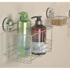 Bathroom Suction Cup Soap Dish Rack Square Shampoo Basket Stainless Soap Tray