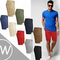 Mens Chino Shorts Knee Length Cotton Casual Summer Cargo Combat Bottoms Pants