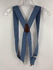 """Holdup Suspender Company's Light Blue Denim 2"""" Wide Work Suspenders Side Clips"""