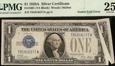 1928A $1 DOLLAR MAJOR GUTTER FOLD ERROR FUNNYBACK NOTE SILVER CERTIFICATE PMG 25