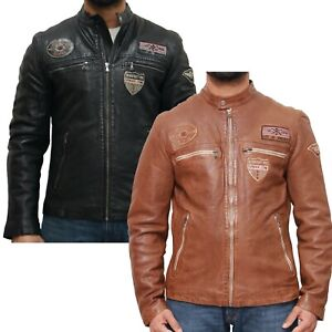 Mens Real Leather Racing Biker Jacket with Badges. Available in Tan and Black