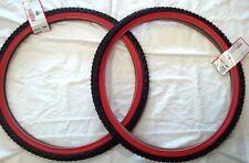 """26"""" BEACH Cruiser tire bike 26 x 2.125 BLACK RED 1 PAIR"""