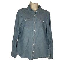 J McLaughlin Women Medium Jean Denim Button Up Shirt