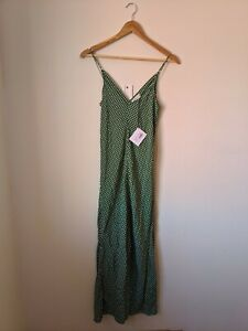 Scanlan Theodore Green Gingham Silk Slip Dress 8 S RRP $220 BNWT