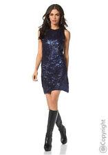 Laura Scott Cocktailkleid Minikleid vorn mit Pailletten in Blau Gr.38 Neu