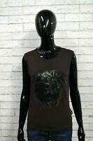 VERSACE  Maglia Donna L Polo Shirt Elastica T-shirt Marrone Smanicata Jersey