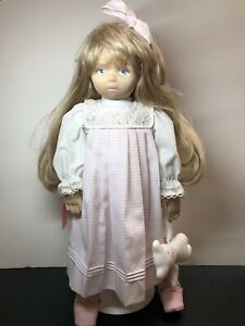 """20"""" Soft Sculpture Cloth Dolls By Pauline Painted Face Blonde W/ Teddy Bear #b"""