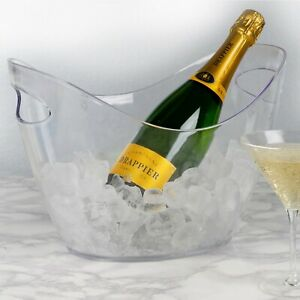 Large Oval  Plastic Ice Bucket Champagne Beer Wine Drinks Ice Cube Bowl Cooler