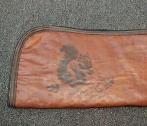 """Weather Shield Brown Leather 52"""" Gun Shotgun Rifle Travel Carry Case Squirrel"""