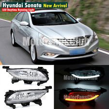 LED Daytime Running Light Fog Lamp DRL For Hyundai I45 Sonata 2011+ W/ Signal