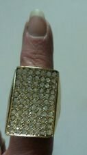 Cocktail  Statement gold tone  rhinestone Stretchy Ring
