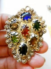 1970s Hare Krishna Hippie~Silverplated Ornate Pendant-Prong-Set Glass Cabochons