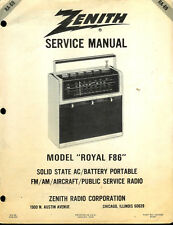 Zenith Royal F86 FM/AM/Aircraft/PS Radio Rare Original Factory Service Manual