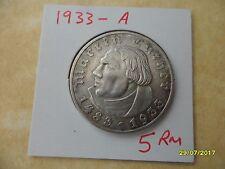 5 reichsmarks 1933-A Muy Raro Luther Tercer Reich Moneda De Plata Deutsches Reich