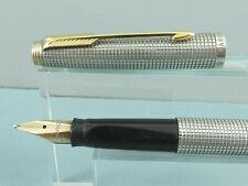 "Vintage Parker 75 Sterling Silver Cicele Fountain Pen, GT, Box, 67 Nib ""Ex Cond"""