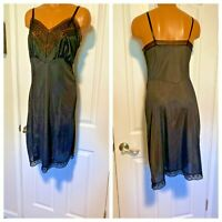 VTG 60's  BLACK NYLON W/  LACE & CHIFFON TRIM FULL SLIP SZ 40