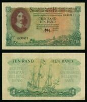 Currency 1961 South African Reserve Bank 10 Rands Banknote Van Riebeeck P# 107a