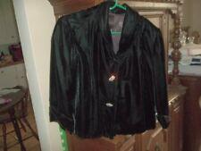 Beautiful Vintage Black Velvet Jacket Rhinestone Buttons Size M 10