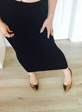 Mid-Calf Polyester Stretch Knit Skirts for Women