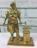 """Vintage Solid Brass Blacksmith with Forging Hammer and Anvil 8"""" Tall"""