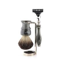 3 Pcs Men Grooming Shave Kit Black Badger Brush, 3 Edge Cartridge Razor & Stand