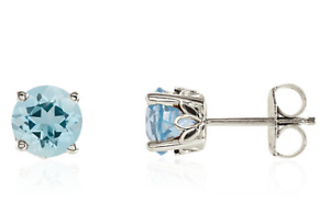 Aquamarine Earrings 14K White Gold, Yellow gold or Rose gold Round 6mm Studs