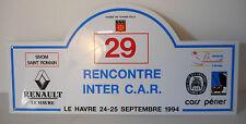 rencontre inter car , raduno club renault 1994 targa, rally plate