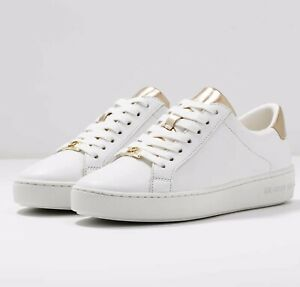 MICHAEL KORS IRVING LACE UP LADIES TRAINERS BN 6.5uk WOMENS SHOES WHITE GOLD