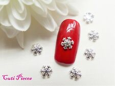 10pc 3D Nail Art Silver Christmas Snowflake Small 3D Alloy Metal Spangle Tip SF5
