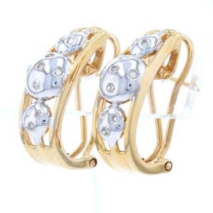 Diamond J-Hoop Earrings - 14k Yellow Gold Pierced Single Cut .23ctw